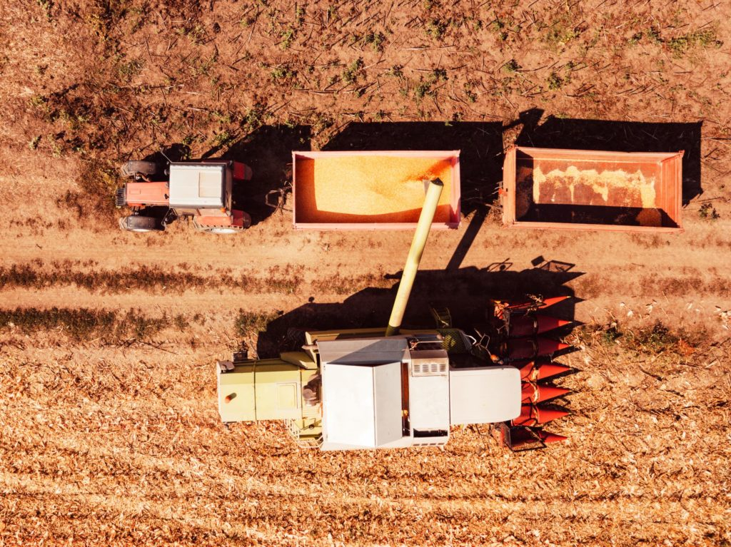 Aerial view of corn seed harvester.